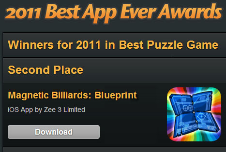 Second Best Puzzle Game App Ever 2011!