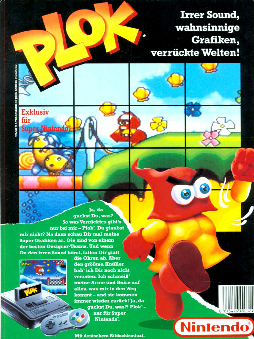 Plok German print ad - SNES